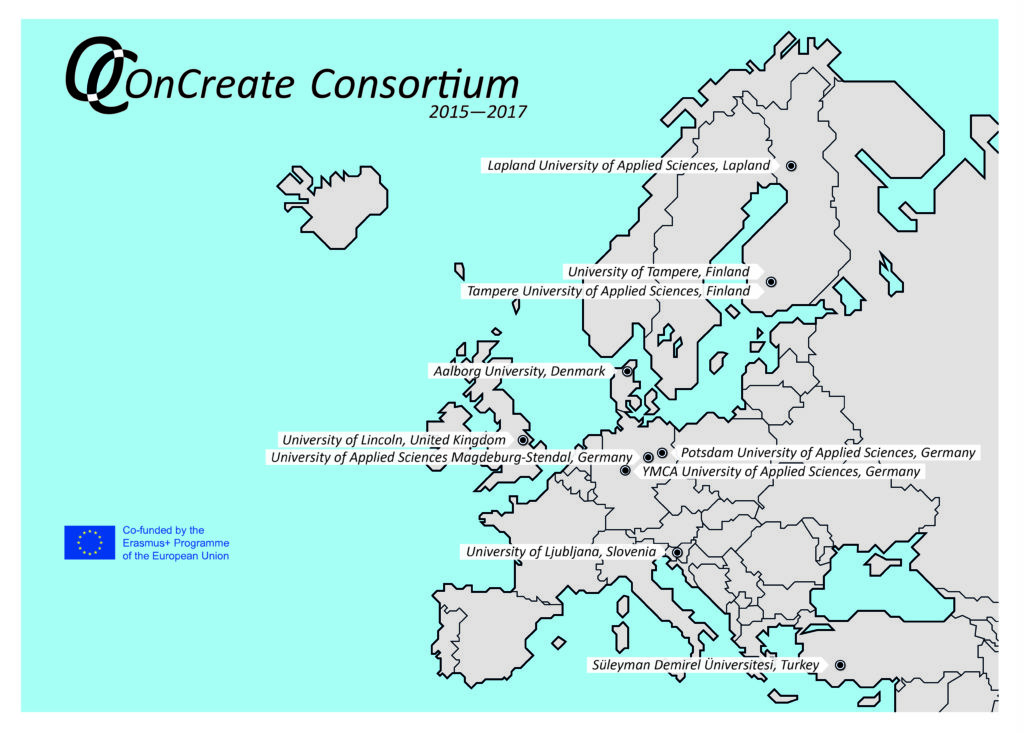 Map of Europe showing locations of OnCreate Consortium Partners